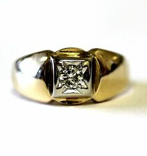 14k yellow gold round .30ct SI1 I diamond mens band ring 8.3g estate gents