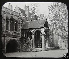 Glass Magic Lantern Slide NORMAN STAIRCASE CANTERBURY CATHEDRAL C1890 KENT