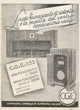 Y0180 Radio C.G.E. 253 con fonografo - Pubblicità 1937 - Advertising