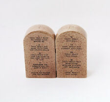 10 TEN COMMANDMENTS STONE.DECALOGUE.CERAMIC SALT & PEPPER SHAKERS.CHRISTIANITY