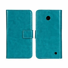 Turquoise Genuine Leather Wallet Card Case Cover For Nokia Lumia 630/635 LTE 4G