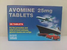 Avomine 28 Tablets for Prevention And Relief of Travel Sickness,Nausea,Vertigo.