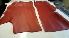 BRIGHT RED Leather hide - 2 pieces - 1.4 -1.7mm thick - Total SIZE 16 SQft
