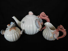 FITZ & FLOYD SEAHORSE GIFTWARE TEA SET OF 5 TEA POT CREAMER SUGAR BOWL 2 LIDS