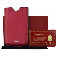Authentic CARTIER Logos Cell Phone Case Leather Bordeaux Accessory 06A750
