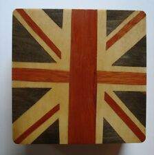 HAND CRAFTED ROSE WOODEN MARQUETRY PUZZLE BOX INLAID UNION JACK  -JEWELLERY GIFT
