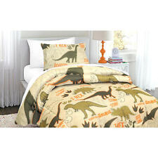 Green & Tan Dinosaur, T-Rex, Boys, Twin Comforter & Sham Set, 2 Piece Bedding
