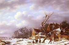 Oil painting pierre francois de noter - gathering wood in a winter landscape art