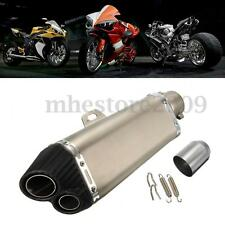 Motorcycle 51mm Carbon Stainless Steel Dual Exhaust Muffler Pipe Street Bike New