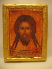 Jesus Christ Rare Eastern Orthodox Religious Icon Gold Art on Aged Pine Wood