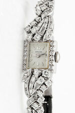 Antique 1940s $10,000 3ct VS G Diamond Hamilton Platinum Ladies Watch HEAVY 26g
