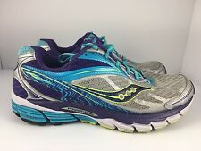 Saucony Ride 8 Women US 9 Wide Blue Silver + Purple Athletic Running Shoes