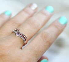 0.20CT DIAMOND TWO CHEVRON RING IN 14K GOLD ANY COLORS STACKABLE RINGS