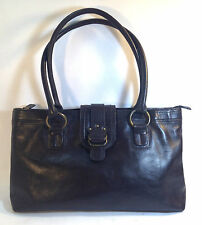 lovely NORDSTROM large dark glossy brown leather wide body tote shoulder bag