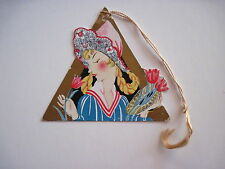 Vintage Art Deco Bridge Tally Card w/ Dutch Girl & Red Tulips *
