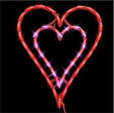 "LED Lighted Double Hearts Valentines Day Decoration Indoor/Outdoor 17""H"