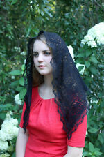 Black Floral/Scrollwork Classic Traditional Catholic Lace Mantilla Chapel Veil