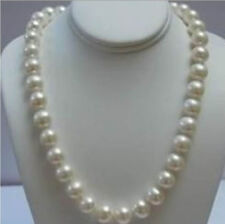 """14K Solid Gold Clasp 9-10MM White Akoya Pearl Necklace 18"""" AAA"""