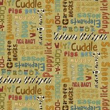 BY 1/2 YD~WHY?~WHOLE COUNTRY CABOODLE~ANIMAL WORDS ON TAN~8214-66