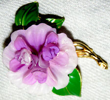 VINTAGE GORGEOUS OLD PLASTIC PRETTY FLOWER PIN BROOCH
