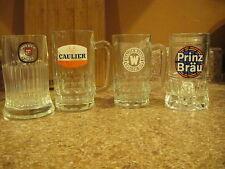 SET of 4 EUROPEAN Glass Beer Mugs Italy Belgium Prinz Caulier + Not Pint Glass