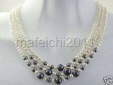 Beautiful natural white black round pearl 6-7mm 3 rows women necklace