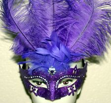VENETIAN Mardi Gras Masquerade Ball PURPLE MASK w/ SILVER GLITTERS FEATHERS New