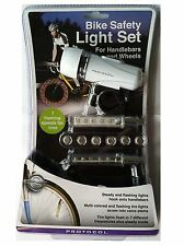 Bike Safety Light Set for Handlebars and Wheels (7 Flashing Speeds for Tires)