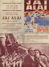 Año 1941. Programa de CINE ORIGINAL. Título: JAI ALAI.
