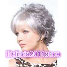 2015 New lady short silver gray mixed curly cosplay full wigs + Free wig cap