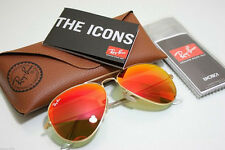 New Ray-Ban  Sunglasses RB3025 112/69 58mm Aviator Gold Frame Orange Lens