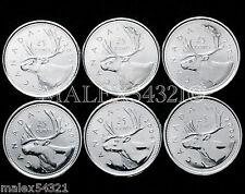 2001P TO 2005P COMPLETE CARIBOU 25 CENT SET UNC (6 COINS)