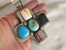"LARGE TURQUOISE  STERLING SILVER SANTA FE CROSS PENDANT C CHAMA 4-1/4"" LONG"
