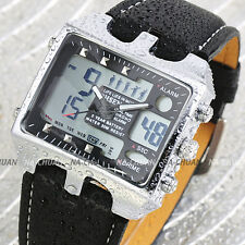 OHSEN Unique Fashion Mens Black Leather LCD Digital Date Dual Sport Quartz Watch