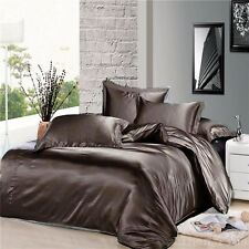 3 Piece Gray Silky Satin Duvet Cover Zipper Closure Set King Size