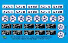 "[FFSMC Productions] 0 scale - 1/43 Decals pour Wagon-Citerne ""AZUR"" Hornby"