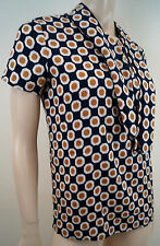 THEORY Navy & Orange Silk Stretch Geometric Print Short Sleeve Blouse Top S