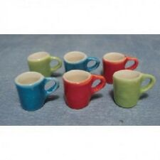 6 Modern Coloured Mugs, Dolls House Cups, Mugs, Miniatures, Kitchen & Dining
