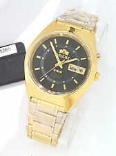 ORIENT 3 Star Automatic Watch Mens Gold tone Watch Black Dial Inner cirlce New