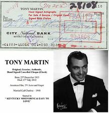 TONY MARTIN TV FILM  ACTOR SINGER HAND SIGNED BANK CHEQUE - 1962   EARLY ITEM