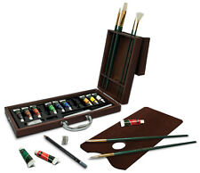 ARTIST PREMIER DELUXE OIL COLOUR PAINT & BRUSHES WOODEN CASE SET OIL2020