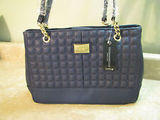 New TIGNANELLO Lady Q CHAIN SHOPPER Quilted Leather PURSE/BAG Midnight/Navy Blue