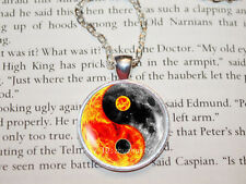 Tai Chi Yin yang Cabochon Glass Tibet Silver Chain Pendant Necklace HZ#143
