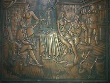 "Rare vintage bas-Copper relief ""Tavern"""