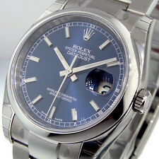 ROLEX DATEJUST 116200 STEEL 36 mm OYSTER BRACELET BLUE STICK DIAL 116200