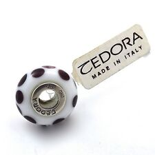 TEDORA STERLING SILVER WHITE WITH PURPLE DOTS MURANO GLASS BEAD CHARM NEW