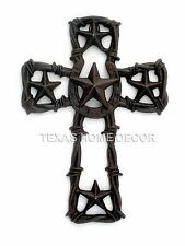 Western Texas Star Wall Cross Rustic Cast Iron Horseshoe Barbed Wire 10 x7 in