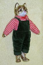 Vintage Porcelain Male Cat Doll  Dressed in overalls