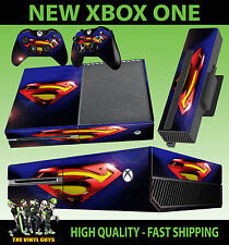 XBOX ONE CONSOLE STICKER SUPERMAN LENS FLAIR SKIN & 2 X CONTROLLER PAD SKINS