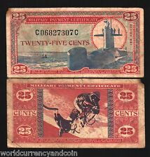 USA 25 CENTS M77 1969 MPC 681 SUBMARINE ASTRONAUT SPACE WALK CURRENCY MONEY BILL